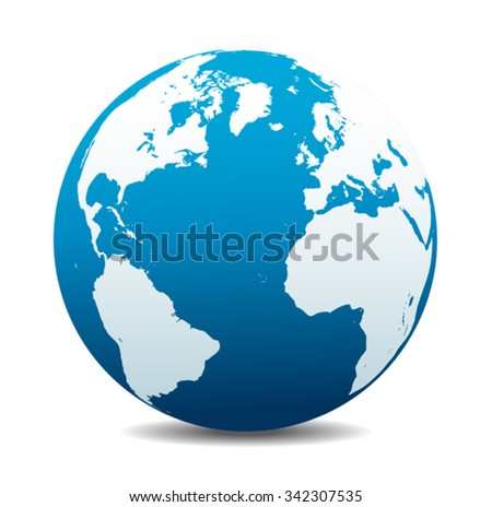 Europe, North, South America, Africa Global World - stock vector