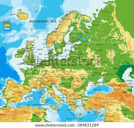 Europe - physical map - stock vector