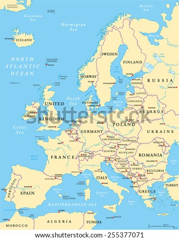 Europe Political Map and the surrounding region. With countries, capitals, national borders, big rivers and lakes. English labeling and scaling. Illustration. - stock vector