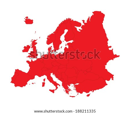 Europe red vector map isolated on white background. High detailed illustration. - stock vector