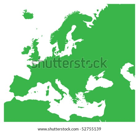 Europe silhouette, vector illustration - stock vector
