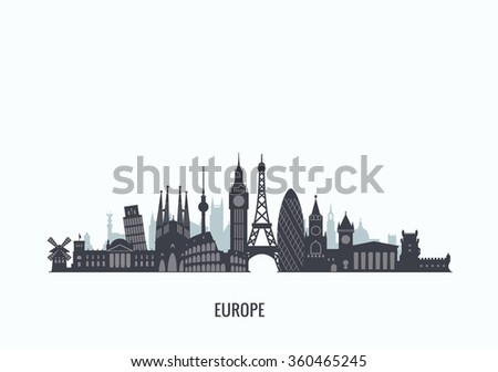 Europe skyline silhouette. Travel and tourism background. Vector flat illustration - stock vector