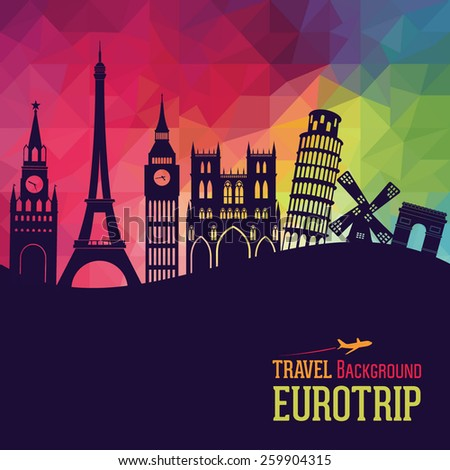 Europe skyline silhouette. Vector illustration - stock vector