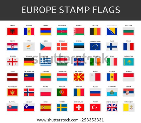 europe stamps flags vector - stock vector