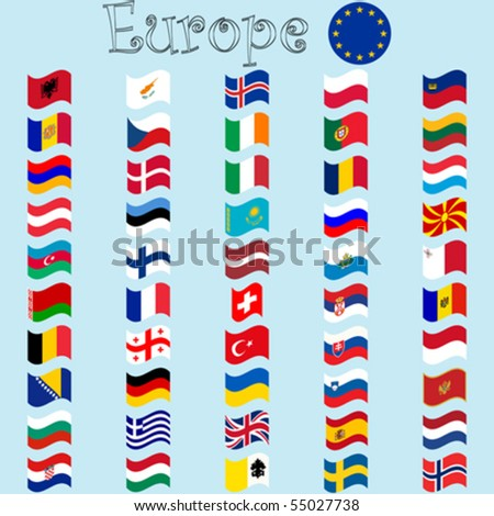 europe stylized flags against blue background, abstract vector art illustration
