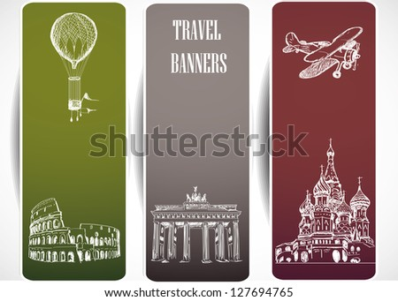 Europe travel banners - stock vector