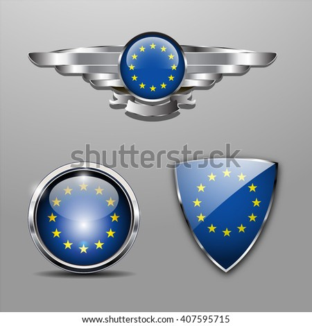 Europe Union Flag hat badge, shield and glossy button - stock vector