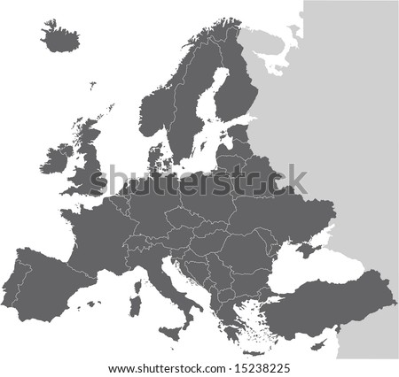 Europe vector map hand drawn with countries on separate layers - stock vector