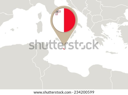 Europe with highlighted Malta map and flag - stock vector