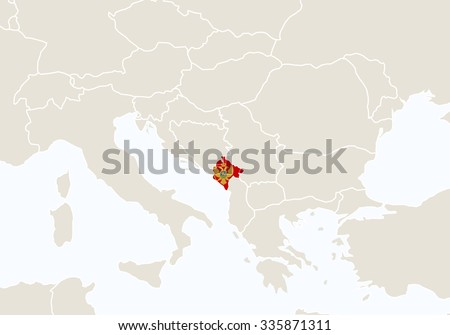 Europe with highlighted Montenegro map. Vector Illustration.  - stock vector