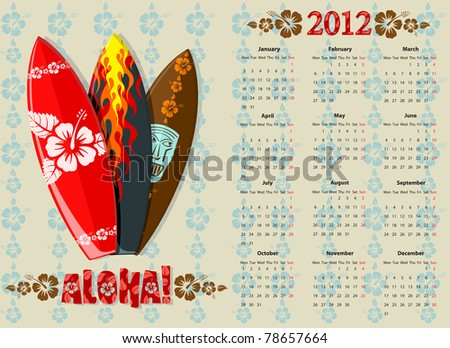 European Aloha vector calendar 2012 with surf boards, starting from Mondays - stock vector