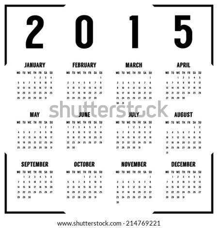european black and white 2015 year calendar. isolated on white background. vector illustration
