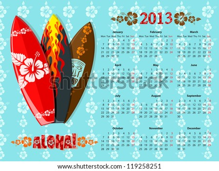 European blue Aloha vector calendar 2013 with surf boards, starting from Mondays - stock vector