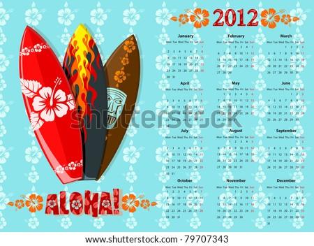 European blue Aloha vector calendar 2012 with surf boards, starting from Mondays - stock vector