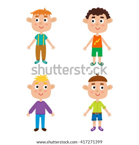 European boys body template: front. Vector illustration of trendy cute cartoon boys isolated on white background: red-haired, blonde, curly and brown-haired.  Cute fashion clothes for boys.