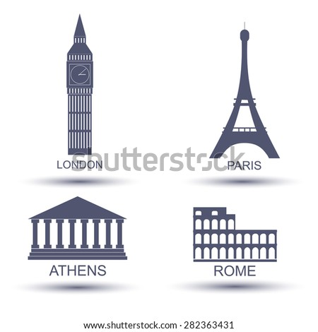 European capital icon set. London Paris Rome  Athens - stock vector