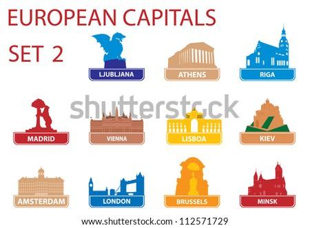 European capital symbols. Set 2 - stock vector