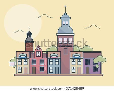 European city. urban landscape. vector illustration - stock vector