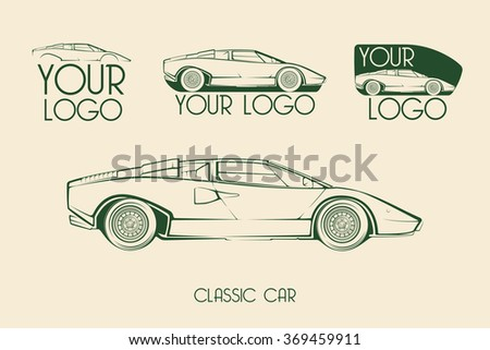 European classic sports car silhouettes, outlines, contours. Your Logo - stock vector
