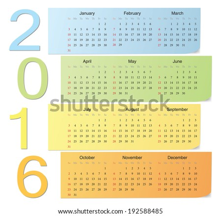 European 2016 color vector calendar with vertical numbers. Week starts from Sunday. - stock vector