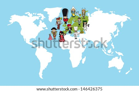 European continent cartoon people with distinctive clothing. Vector illustration layered for easy editing. - stock vector