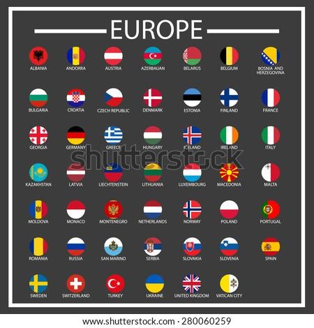 European countries circle flags - vector icons set  - stock vector