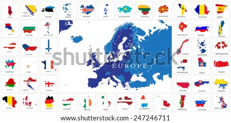 European countries flag map set  - stock vector