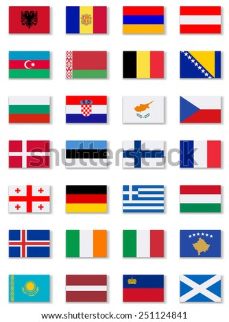 European Countries Flags Set 2 .Vector - stock vector