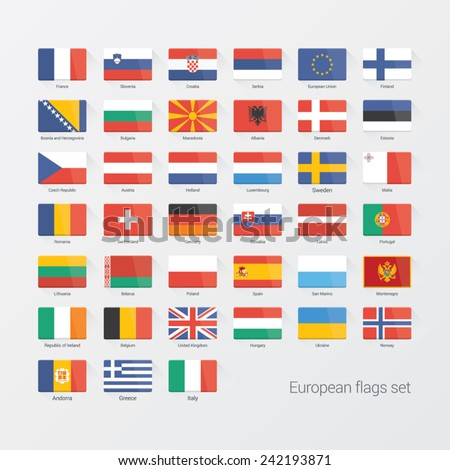 European countries flat flags set - stock vector