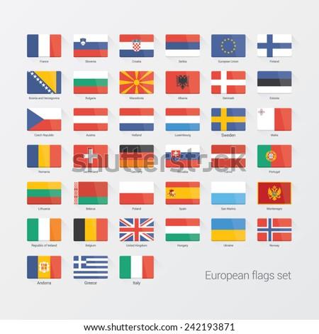 European countries flat flags set - stock vector