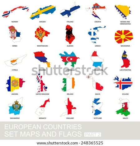 European countries set, maps and flags, part 2 - stock vector