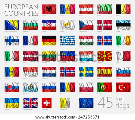 European Country Flags. This image is a vector illustration and can be scaled to any size without loss of resolution. This image will download as a EPS file. Wavy flags set. 45 Vector Icons Signs - stock vector