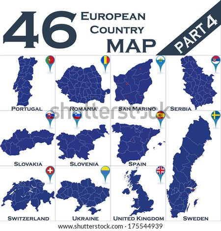 European country set with map pointers - Part 4 - stock vector