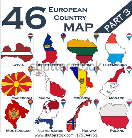 European country set with map pointers - Part 3 - stock vector