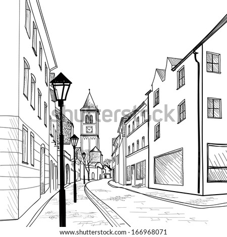 European downtown landscape. Vector illustration. Pedestrian street in the old European city with church on the background. Historic city street. Hand drawn sketch of cityscape.  - stock vector