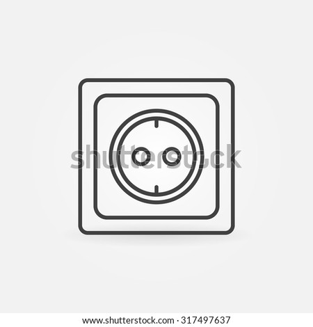 European Electrical Outlet Linear Icon