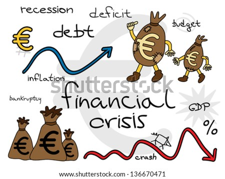 European financial crisis. Funny money patched bags going forward to better tomorrows. Vector illustration. - stock vector