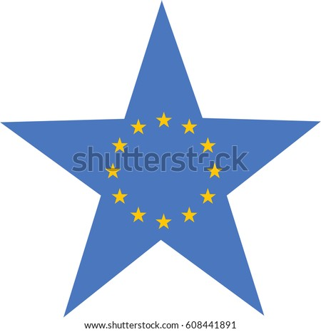 European Flag in a Star. Vector Illustration.