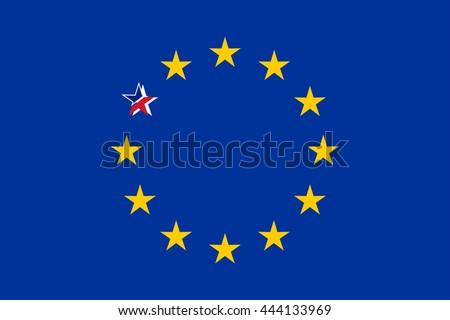 European Flag With Broken British Star Vector Illustration - stock vector