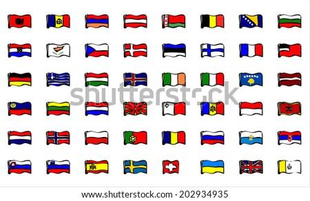 European flags. - stock vector
