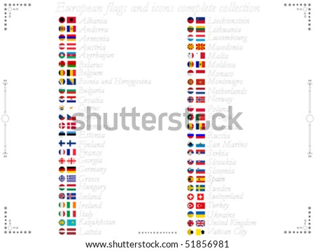 european flags and icons complete collection against white background, abstract vector art illustration - stock vector