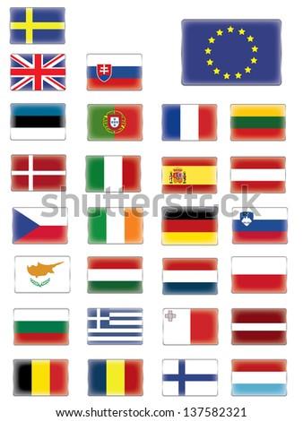European flags buttons - stock vector