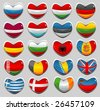 european flags in a shape of a heart - stock vector