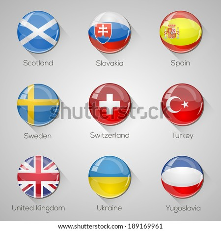 European flags set glossy buttons with long shadows. Vector illustration. Part 5 - stock vector