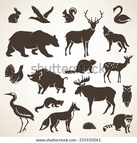 european forrest wild animals collection of stylized vector silhouettes - stock vector