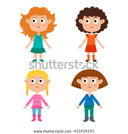 European girls body template: front. Cute cartoon stylish girls isolated on white. Vector illustration of trendy kids: red-haired, blonde, curly and brown-haired.  Cute fashion clothes for girls.