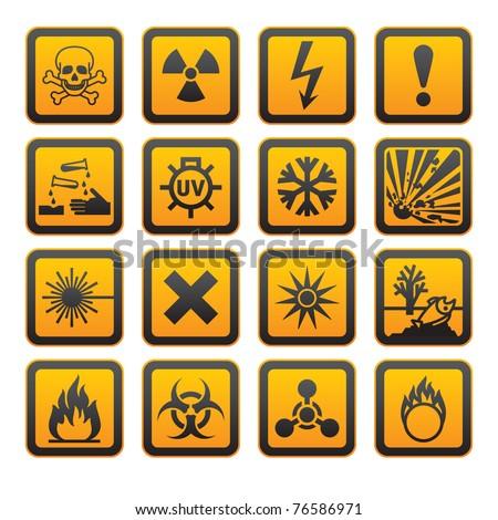 European hazard symbols, rounded corners - stock vector