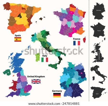 european maps - stock vector