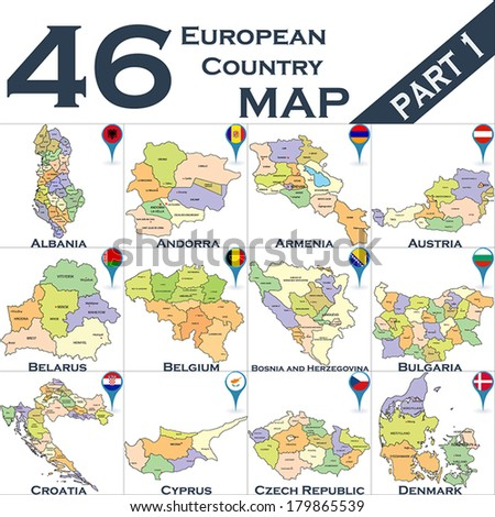 European political map set with map pointers - Part  - stock vector