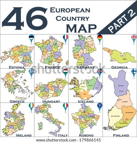 European political map set with map pointers - Part 2 - stock vector